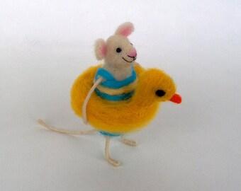 Felt mouse swimming belt, Swimmer art doll, Funny mice Seaside Summer gift mouse Waldorf toy Needle felt animal Hamster Wool rat Cute animal