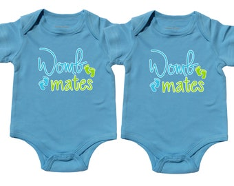 Twin Boys Clothing, Womb Mates, Wombmates, Twin Boys, Boy Twins, sizes from 0 to 12 months, Twin Clothing