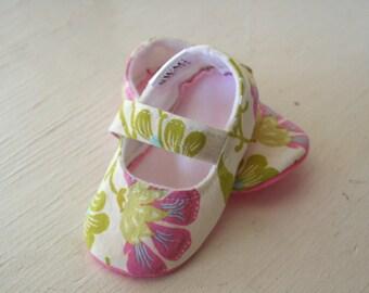 maryjane baby girl shoes toddler newborn velcro strap booties Amy Butler Green Pink Flower slippers SWAG shower gift