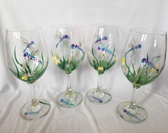 Dragonfly - Hand Painted Wine Glasses (Set of 4)