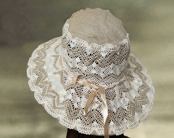 Summer linen hats, Wide brim sun hat, Cotton lace hat lady, Beach cotton hat, Sun protection hat, Beige summer hat, Sun garden hats