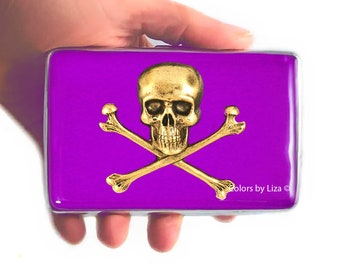 Skull and Crossbones RFID Wallet with Credit Card Organizer Hand Painted Ultra Violet Opaque Enamel with Personalized Options Available