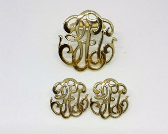 Vintage Scroll Scarf Clip with Matching Pierced Earrings in Gold (Faux)