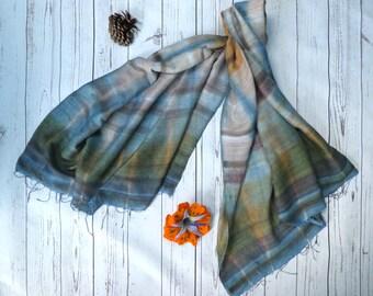 Silk scarf, indigo shibori scarf, Japanese indigo scarf, hand dyed scarf, upcycled scarf, striped scarf