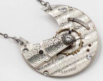 Collier steampunk avec poche argent victorien Vintage montre Cresent Moon assiette avec engrenages & Swarovaki cristal, déclaration collier cadeau