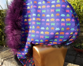 SPRING SALE - Space Invaders Hood with Super Soft Black and a Super Luxury Purple Faux Fur Festival Skiing Accessory