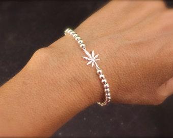 Silberarmband Marihuana - Cannabis-Armband - Silber-Blatt-Armband Silber - Silber Perlen Unkraut Armband - 420 Schmuck