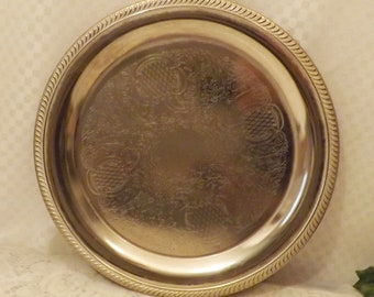 Vintage International Silver Ornate Silver Plate Charger or Serving Tray.