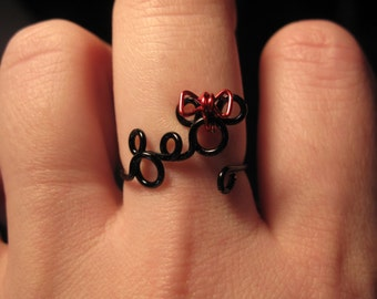 Wire Wrapped Minnie and Mickey MADE to ORDER Adjustable Ring