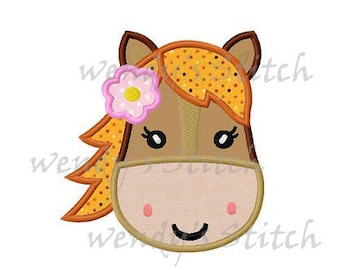 girly pony horse applique machine embroidery design instant download