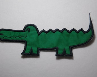 Alligator Embroidered Applique Patch With Black Outline, Alligator Patch, Iron On Alligator Patch, No Sew Alligator Patch