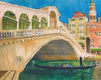 Venice Canal watercolour original
