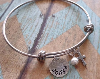 Blessed Mom Bracelet - Blessed Mom Nana Bangle-  Personalized Names Adjustable Silver Bangle - Mothers Day Gift Mom Gift -B29