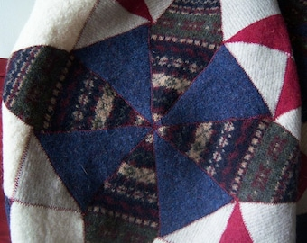 Recycled Wool Lap Baby Blanket/ Kaleidoscope pattern