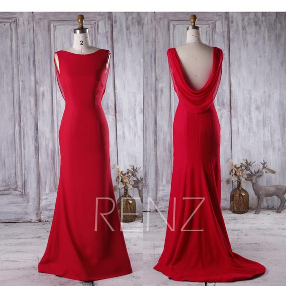 Red Bridesmaid Dress with Train Cowl Back Wedding Dress