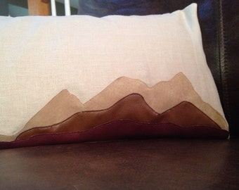 Linen and leather appliqué mountain pillow