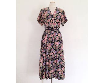 floral midi dress 90s floral dress womens cotton tea dress 40s style vintage 1940s style full skirt