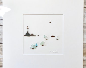 Pebble and seaglass Art, Original Art by Sharon Nowlan. Matted or framed, 12in x 12in Nautical Art, Lighthouse