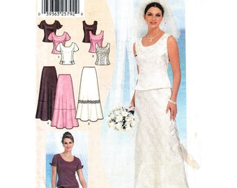 Two Piece Dress Pattern Simplicity 7209 Princess Seam Top, Evening Skirt Bridal Wedding Dress Womens Sewing Pattern Bust 35 to 46 UNCUT