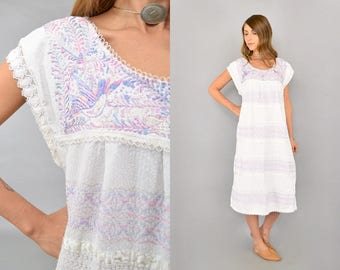 Embroidered Pastel Mexican Dress