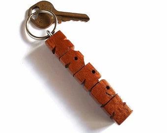 Name Keychain in Mahogany Wood, Custom Carved to Order