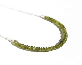 Vesuvianite Beaded Necklace Sterling Silver Natural Gemstone Faceted Olive Green Stone Idocrase Minimal Gemstone Necklace Kelp Green #16407