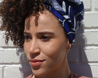 Blue and White Kuchena Half Head Wrap