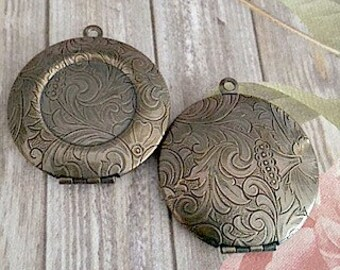 30mm Antiqued Brass Lockets, Florentine Pattern, Florentine Locket, 18mm Bezel Lockets, Brass Lockets, Made in the US, Lockets, DIY Lockets