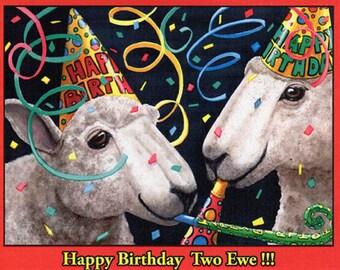 "Birthday card- ""Two Ewe"""