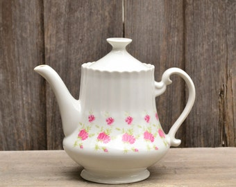 Vintage Large China White Teapot with Pink Floral Detailing