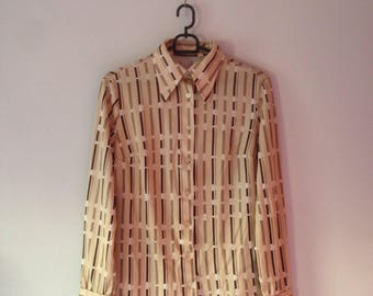 70s style Stripey Vintage Shirt UK size 10 (S) white/brown/beige