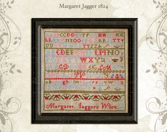 Margaret Jagger 1824 ~ reproduction sampler CHART (hard copy)