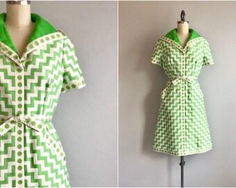 Vintage 60s Brocade Dress / 1960s Mod Lime Green Zig Zag Chevron Cotton Brocade Dress with Polka Dot Trim