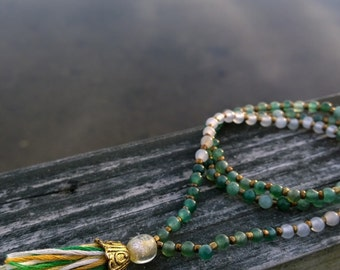 Green Aventurine and Quartz Mala Meditation Necklace