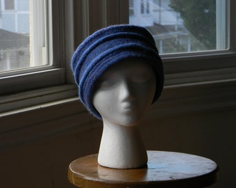 Felted women's wool hand-knit pillbox hat--delphinium blue with pleats --Delphinium