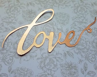 """Rose gold Calligraphy """"Love"""" Cake Topper - Great for Wedding, Valentines Day ,Birthday Party, Baby Shower, Anniversary Cake Decorations"""