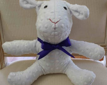 White bunny - purple ribbon tie