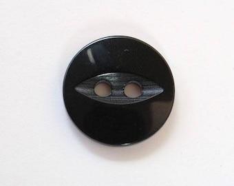 Button 14mm x 100 Black 2 holes - 001520 fish eye
