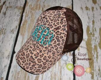 Leopard Trucker Hat, Distressed Brown Trucker Hat - Monogrammed Ball Cap, Personalized Trucker Hat