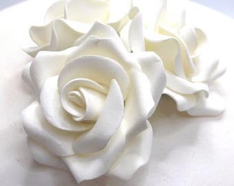 1,3,6 or 12 Large Ivory 3D Sugar Roses wedding cake decoration 55mm NONWIRED
