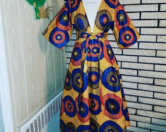 African Clothing: K I N A Kimono Dress made from  African Dutch Wax