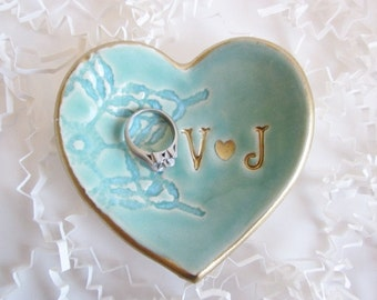 Gold edged wedding ring dish, heart ring holder, Mr. and Mrs, Personalize ceramic his and hers Ring dish