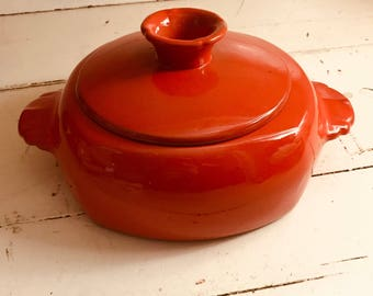 Frankoma Casserole Dish With Lid Orange