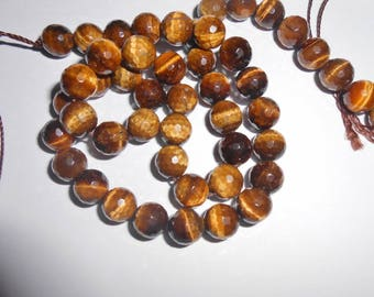Faceted Tiger eye 8 mm, AA quality. (9403330)