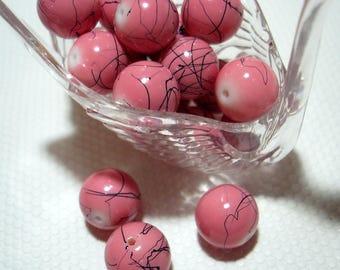 Pink with Black Splash Glass Round 12mm Beads (Qty 17) - B3467