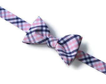 Pink and Navy Tattersall Bow Tie~Mens Self Tie Bow Tie~Mens Pre-Tied~Anniversary Gift~HoBo Ties~Cotton Bow Tie~Wedding Tie~Navy Wedding