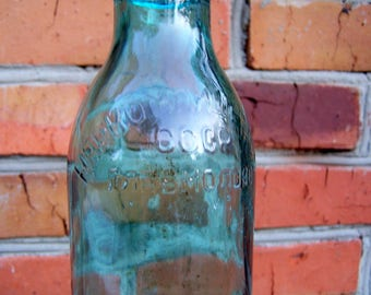 Vintage Soviet Milk Bottle. Old Blue Glass Bottle. USSR the 1940s. Narcompishcheprom. Milk Container. Home, Garden, Photo Decor