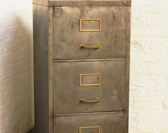 Angela Reclaimed Vintage Urban Industrial Chic 1960s Stripped Down And  Distressed Bare Steel 3 Drawer Filing Cabinet With Brass Handles