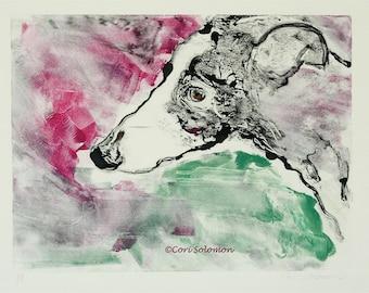 Greyhound Dog Art Hand Pulled Print Monotype Framed By Cori Solomon