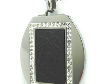 QP10 Quantum Pendant Stainless Steel w/ Neo Magnet & Volcanic Lava Inlay that Emits Scalar Energy